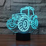 3D Lampe USB Power 7 Farben Amazing Optical Illusion 3D wachsen LED Lampe Traktor Formen Kinder...