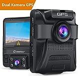 Crosstour GPS Autokamera Dashcam 1080P Vorne und 720P Hinten Kamera mit Parküberwachungsfunktion,...