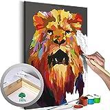 murando - Malen nach Zahlen 2.0 – Bilder Löwenkopf 40x60 cm – Malset mit Holzspannrahmen - DIY...