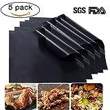 Yinsili Barbecue Grillmatten,BBQ Antihaft-Grillmatte Set von 5 - 40 x 33 cm Grillpapier zum Kochen,...