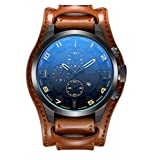 Herren Handtaschen Riemen Kalender Kalender Fashion Watch,Brown-OneSize