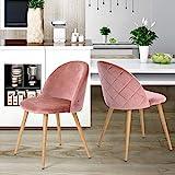 Esszimmerstuhl Coavas samt weich Kissen Sitz und Rücken mit hölzernen Metallbeine Küche Stühle...