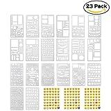 Lynlon Zeichenschablonen, 20 Stück und 144 Aufkleber für Journaling, Filofaxing, Scrapbooking,...