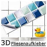 7er Set 25,3 x 3,7 cm blau türkis silber Fliesenaufkleber I Mosaik 3D-Effekt Aufkleber Küche Bad...