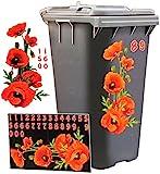 Aufkleber für Mülltonne - ' Mohnblumen - Blüten ' - 31 tlg. Set - incl. Zahlen -...