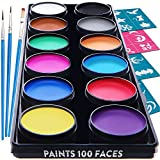 Blue Squid Kinderschminke Face Paint Set 12 Farben Schminkpalette, Professionellemit Hochwertiges...