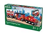 BRIO World 33844 Feuerwehr-Löschzug - Feuerwehrzug mit Feuerwehrschlauch und Wassertank -...