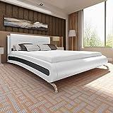 SHENGFENG Bett mit Matratze Doppelbett 180×200 cm Polsterbett Kunstlederbett Weiß