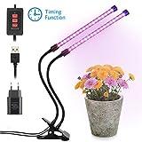 Pflanzenlampe, MeeQee 12W Led Pflanzenlicht Doppelkopf Wachstumslampe mit Timing-Funktion, Rot und...