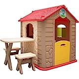 LittleTom Kinderspielhaus inkl Tisch mit 2 Bänken Spielhaus 104x118 cm Kinder-Gartenhaus für...