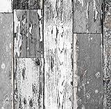 AS4HOME Klebefolie Holzdekor- Möbelfolie Holz Scrapwood grau dunkel - 90 cm x 200 cm...