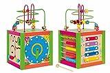 Woody Holz Multifunktionswürfel mit Lernuhr, Spiralboard, Motorikschleife, Zählrahmen, Xylophon