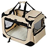 SONGMICS Hundebox Transportbox Auto Hundetransportbox faltbar Katzenbox Oxford Gewebe beige M 60 x...