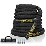 POWER GUIDANCE Battle Rope - 38mm Width Poly Dacron 9m/12m/15m Length Exercise Undulation Ropes -...