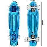 Hikole 55cm Skateboard Complete Crystal 22' Cruiser Skate Board mit LED leuchten Räder/Deck
