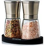 Salz und Pfeffermühle | Gewürzmühlen Set mit einstellbarem Keramikmahlwerk | Menagen aus Glas und...