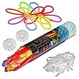100 Knicklichter KNIXS für Armbänder inkl. 100 x 3D-Verbinder, 2 x Ballverbinder, 2 x 7...