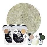 Wanders24 Venezia Stein-Optik (2 Liter, Verde Komplettset) Farbe zum Spachteln, 4 Sets erhältlich,...
