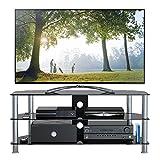 1home GT5 LCD-/Plasma-TV Rack Glas Tisch Ständer LCD Rack LED Tisch Fernsehtisch Schwarz Glas DREI...