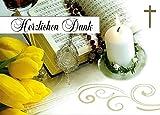 Danksagungskarten Kommunion mit Umschlägen und Innentext Motiv: Kerze/goldenes Kreuz (10 Karten)...