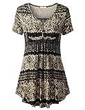 WAJAT Damen Henleyshirt Longtee V-Ausschinitt Tunika Vintage Basic 2#Schwarz Blumen S