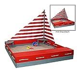 Sun Sandkasten SEEFAHRER Sandkiste aus Massivholz + Windsegel + Abdeckplane by Woodinis-Spielplatz®