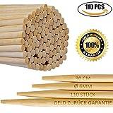 110er Pack | 6mm 90cm Extra lange Lagerfeuer Spieße | Bambus Marshmallow-Spieße | Grillspieße...