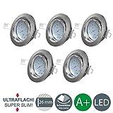 B.K.Licht Ultra Flach LED Einbaustrahler - warmweiß - inkl. 5 x 5W Modul 230V 400lumen - Schwenkbar...