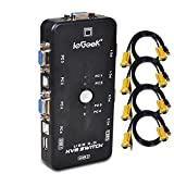 ieGeek KVM Switch Adapter 4 Port USB KVM Switch Box mit 4 KVM Kabel für PCs Maus Drucker und...
