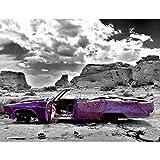 Fototapete Altes Auto Violett Grau 396 x 280 cm Vlies Wand Tapete Wohnzimmer Schlafzimmer Büro Flur...