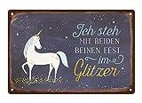 Grafik Werkstatt 60726 Wand-Schild | Vintage-Art |Ich Steh mit beiden Beinen Fest im glitzer | Retro...