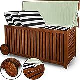 Garten Auflagenbox mit Innenplane und Rädern Aufbewahrungsbox Holz Gartenbox 117cm Akazie rollbar...
