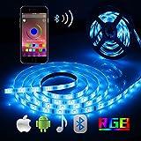 Bluetooth LED Streifen, ALED LIGHT 5050 16.4Ft/5M 150 Führte Streifen Licht Smart-Telefon...