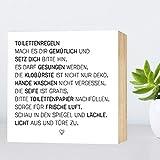 Toiletten-Regeln - einzigartiges Holzbild 15x15x2cm zum Hinstellen/Aufhängen, echter Fotodruck mit...
