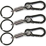 COM-FOUR 3x Schlüsselanhänger mit Feder und Karabiner (3 Stück)