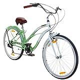 26 Zoll Beachcruiser Viking Retro Ladies Fahrrad Cruiser 2 Farben, Farbe:Grün