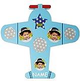 Fotocollage - Fotorahmen / Bilderrahmen - ' Flugzeug - blau ' - incl. Name - 7 Bilder - bis 10 x 10...