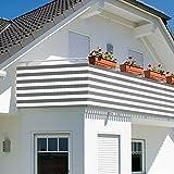 Balkonsichtschutz - Sichtschutz - Windschutz 600x75cm mit Farbauswahl (grau gestreift)