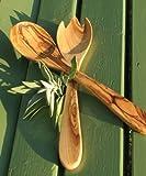 Salatbesteck PRIMAVERA, ca. 30 cm - Olivenholz geölt. Feine Maserung, handwerkliche Verarbeitung....