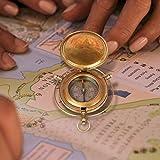 aheli handgefertigt Messing Push Open Kompass Marine Messing Geräte Pocket Nautisches...