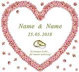 Hochzeitsherz zum Ausschneiden * personalisiert mit den Vornamen des Brautpaares * Rosenherz -...
