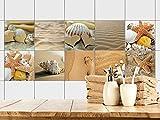 GRAZDesign 770357_15x15_FS10st Fliesenaufkleber Bad - Fliesen zum Aufkleben Muscheln Sand und Strand...
