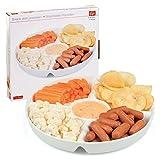 Servierschale mit 5Abschnitten, Snackschale, Weiß, Porzellan, für Dips, Serviertablett