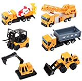 deAO – 6-teiliges Baustellenfahrzeugsset inklusive Gabelstapler, Betonmischer, Ladefahrzeug,...
