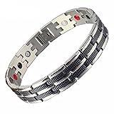SSC Magnet Armband Edelstahl | silber poliert/schwarz | Magnetarmband (2000+ Gauss) | antiallergener...