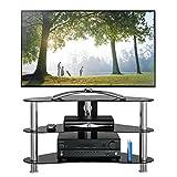 1home GT7 LCD-/Plasma-TV Rack Glas Tisch Ständer LCD Rack LED Tisch Fernsehtisch Schwarz Glas drei...