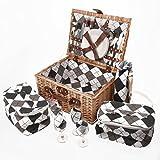Savisto Luxus 4 Personen Picknickkorb mit komplettem Picknick-Set inkl. Teller, Besteck,...