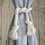 Btsky Handgemachte Raffhalter für Vorhänge, Baumwollseil beige