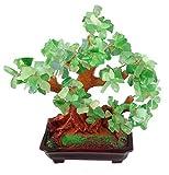 GMMH Feng Shui Glücksbaum 25 cm Geldbaum Bonsai Pfennigbaum Handarbeit Stein grün