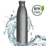 720°DGREE Edelstahl Trinkflasche milkyBottle- 750ml, 0,75l | Isolierflasche Schmal | Thermosflasche...